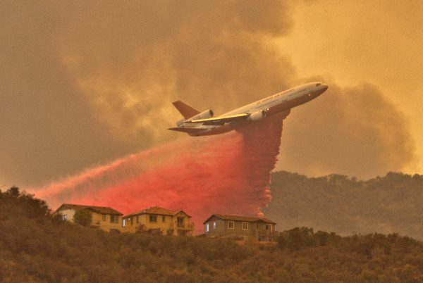 DC-10 on fire in Live Oak Canyon September 2017.
